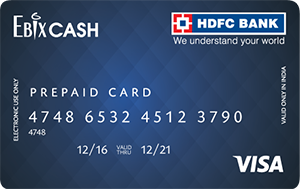 EbixCASH hdfc prepaid card